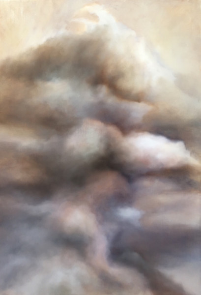 Oil painting on canvas of colorful clouds