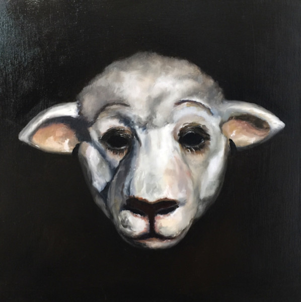 sheep, mask, costume, oil-painting