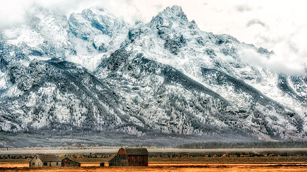 Barn and Mountains Grand tetons digital photo by Fred Neveu.