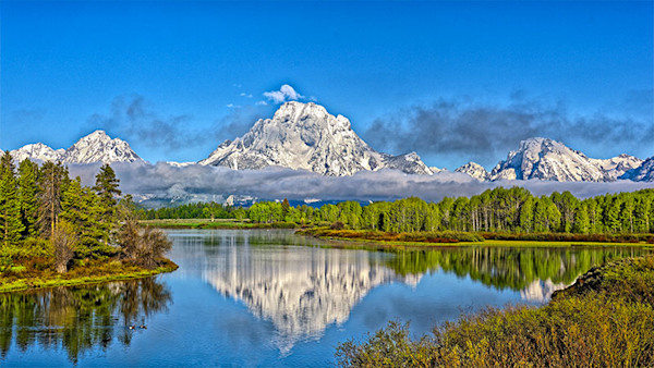 Mt . Moran from Oxbow Bend digital photograph by Fred Neveu.