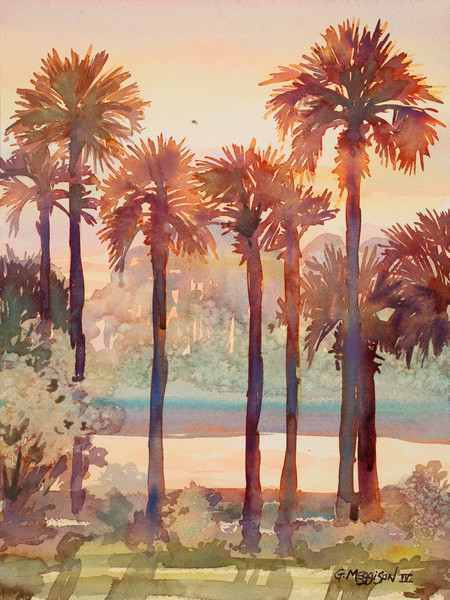 Intracoastal Palms 2 | Watercolor Landscapes | Gordon Meggison IV