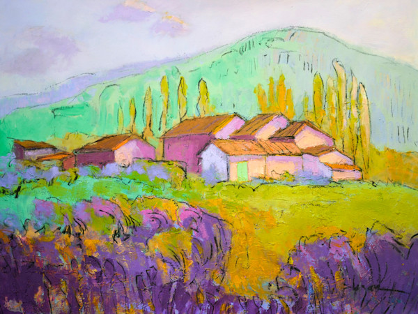 The Lavender Farm | Original Mixed Media Painting by Dorothy Fagan