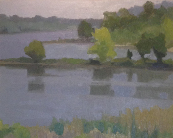 Shop for original paintings like Arkansas River from Murray Park, oil on canvas by Shannon Rogers at Matt McLeod Fine Art Gallery.