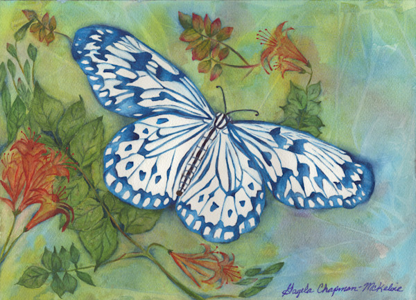 Blue Butterfly art by Gayela's Premiere Watercolor|Main Store