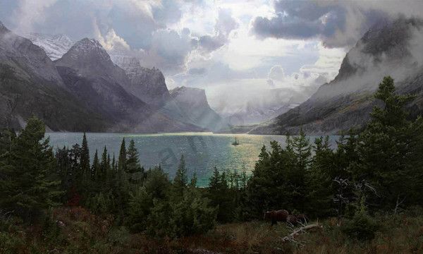 Afternoon at Saint Mary Lake Painting for Sale