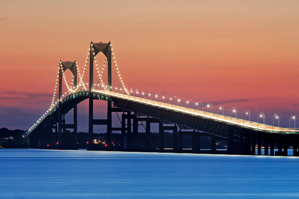 Newport Night Lights - Newport RI Bridge Large Fine Art Photography Print