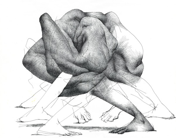 Life Drawing- Ink on paper- Art of the subconscious by Akira Beard