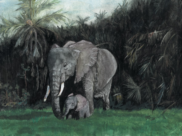 Elephants Mommy and Baby