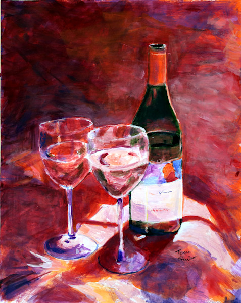 White Wine with Wine Bottle, Painting of Wine Glasses and Wine Bottle,  Fine Art and Paintings for Sale by Teena Stewart of Serendipitini Studio