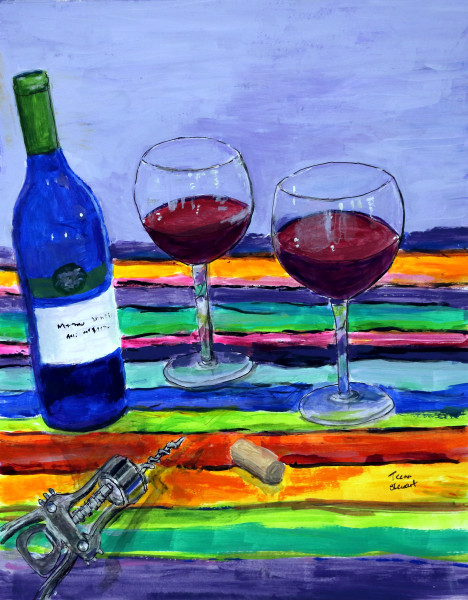 Blue Wine Bottle Painting, Original 