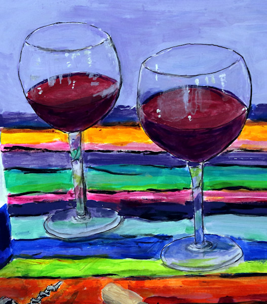 Blue Wine Bottle, Blue Wine Bottle Painting, Fine Art and Paintings for Sale by Teena Stewart of Serendipitini Studio
