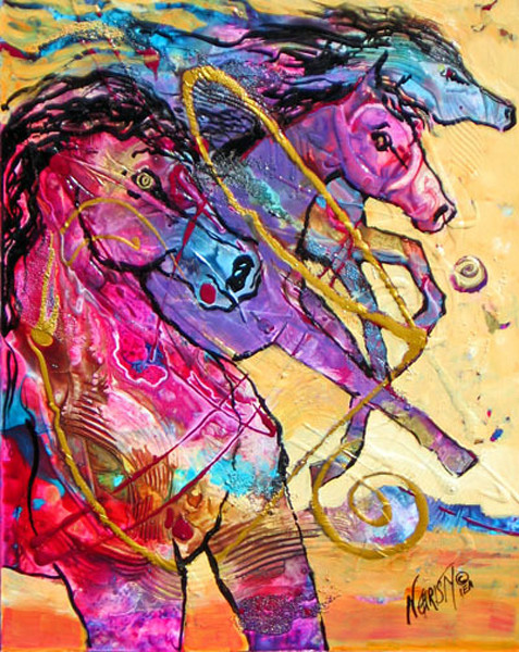 Original abstract horse painting in acrylics on framed wood panel