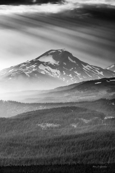 South Sister Smoke Storm (171836LND8) Fine Art Black & White Photograph for Sales as Print