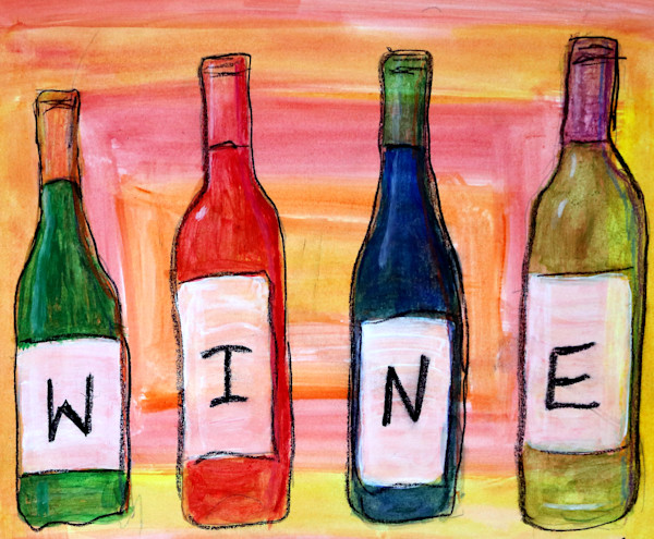 Wine Bottle Drawing, Drawing of Wine Bottles, Fine Art and Paintings for Sale by Teena Stewart of Serendipitini Studio