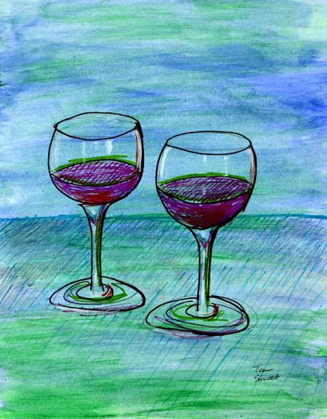 Two Wine Glasses, Mixed Media Painting of Wine Glasses, Fine Art and Paintings for Sale by Teena Stewart of Serendipitini Studio