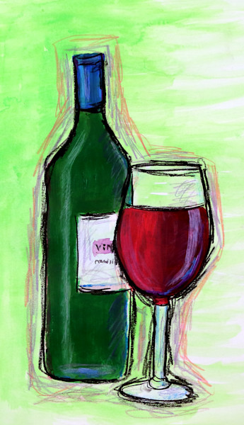 Wine Bottle and Wine Glass, Mixed Media Wine Painting, Fine Art and Paintings for Sale by Teena Stewart of Serendipitini Studio