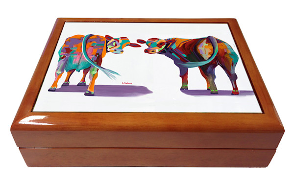 Cow Wooden Keepsake Boxes | Southwest Art Gifts | Tucson