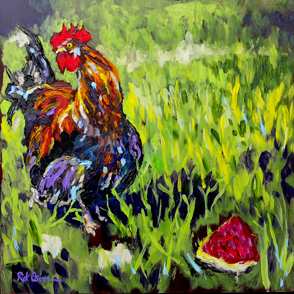 Cock-Doodle-Do Like Watermelon | Fine Art Painting Print of Rooster by Rick Osborn