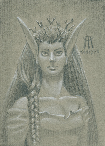 Paintings and Mixed Media Art | Small drawing of the Norwood Priestess magic card.