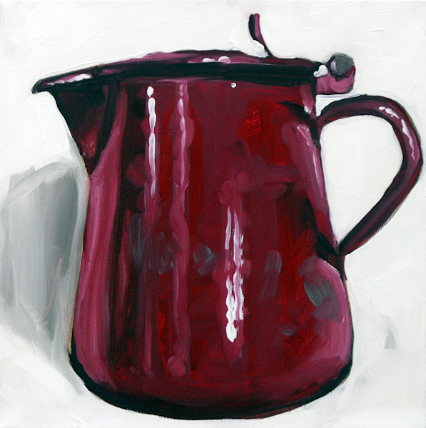 """Cherry Red Tin Pot"" by Andrei  