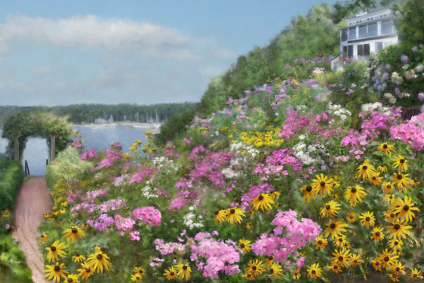 Judy's View. Art print of an original painting by Mary Ahern the artist.