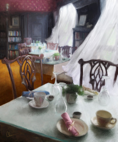 Bayard Breezes art print of a painting of the Hidden Oak Cafe at the Bayard Cutting Arboretum by the Artist, Mary Ahern