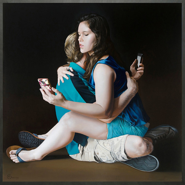 Intimacy with cell phones painting | Kevin Grass Fine Art