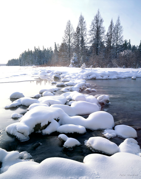 mississippi river, headwaters, itasca state park, minnesota, snow