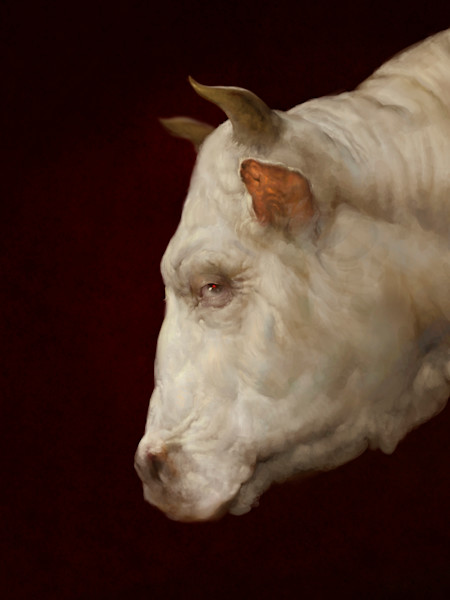 "Burton Gray's ""HOLLY,"" painting of a white cow."