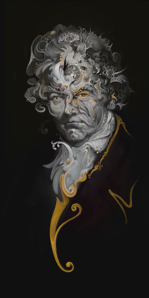 """LUDWIG,"" by Burton Gray - Surreal Beethoven painting."