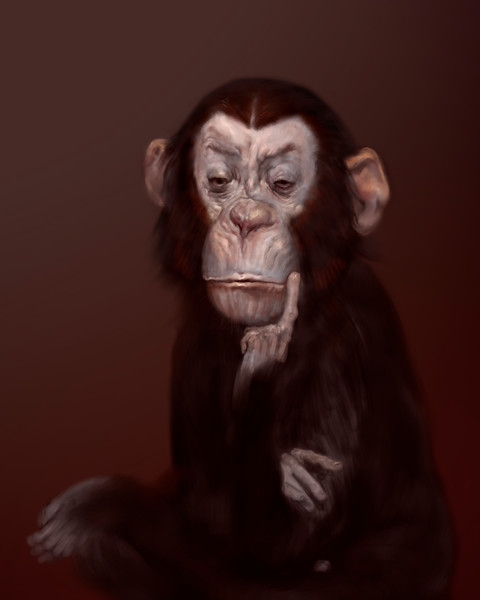 "Burton Gray's ""ALLENE,"" painting of a thinking monkey."