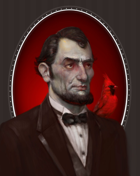 """LINCOLN,"" by Burton Gray, Zombie Lincoln with red cardinal"