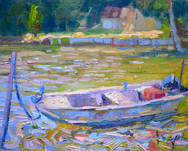 High Tide Workboat Painting Dorothy Fagan