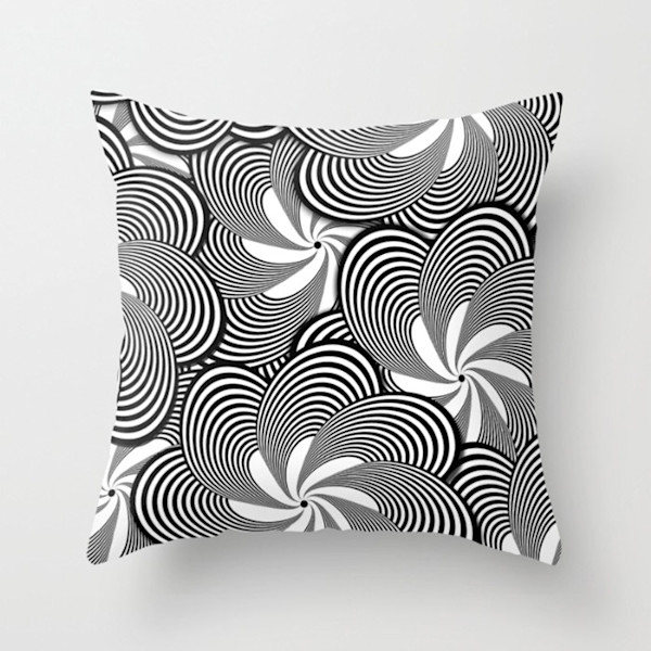 Black and White Flower Pattern Indoor and Outdoor Throw Pillows Square and Rectangle