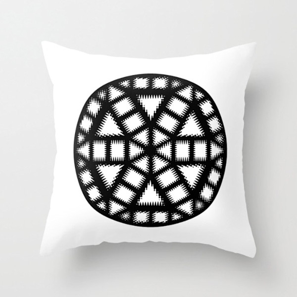 Black and White Pinwheel Single Indoor and Outdoor Throw Pillows Square and Rectangle