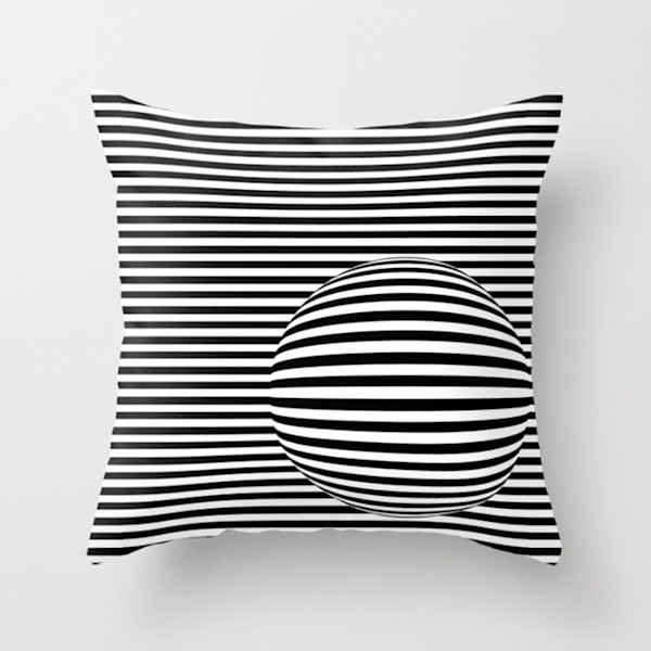Black and White Striped Sphere Indoor and Outdoor Throw Pillows Square and Rectangle