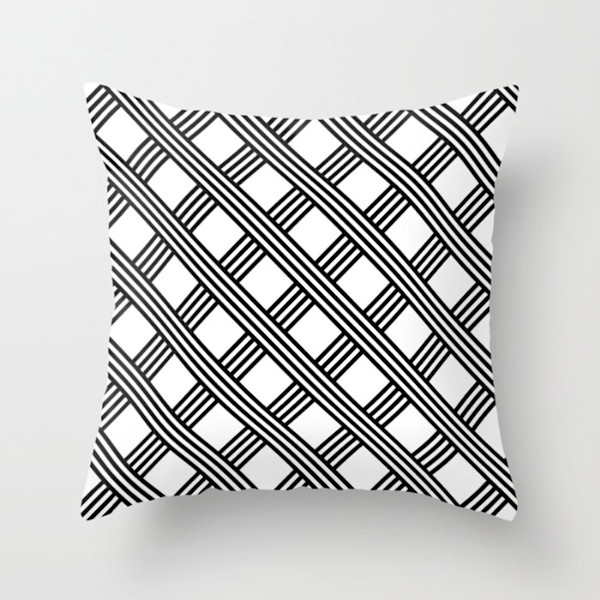 Diagonal Black and White Stripes Grid Indoor and Outdoor Throw Pillows Square and Rectangle