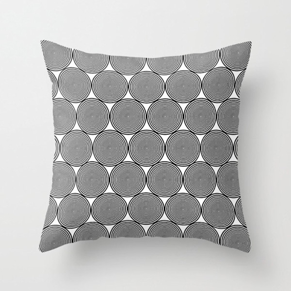 Hypnotic Black and White Circles Indoor and Outdoor Throw Pillows Square and Rectangle