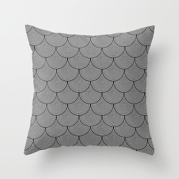 Hypnotic Black and White Circle Scales Indoor and Outdoor Throw Pillows Square and Rectangle
