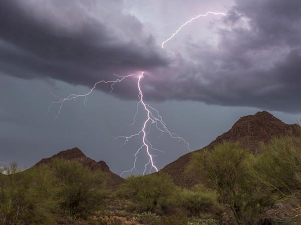 golden gate peak, lighting, monsoon, tucson, storm