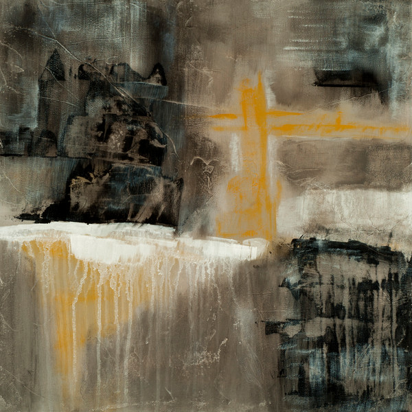 Mythic Allure contemporary abstract painting of a medieval castle and bridge.