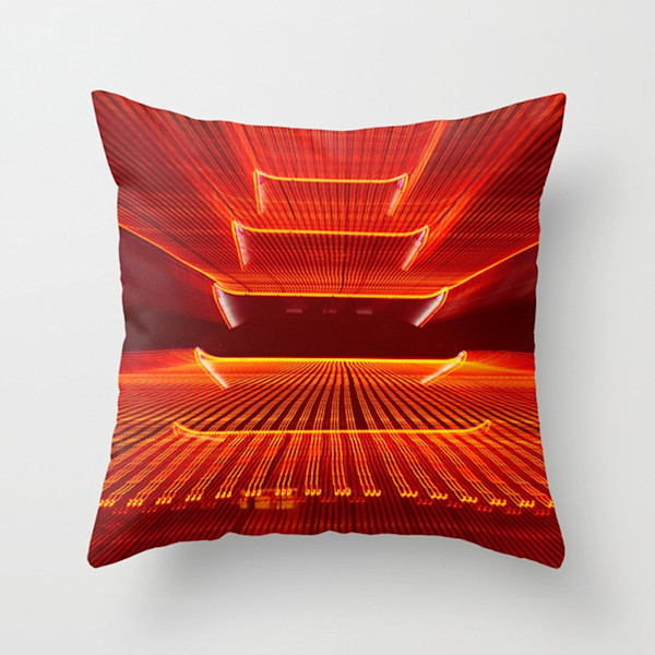 Abstract Reading Pagoda Indoor and Outdoor Throw Pillows Square and Rectangle