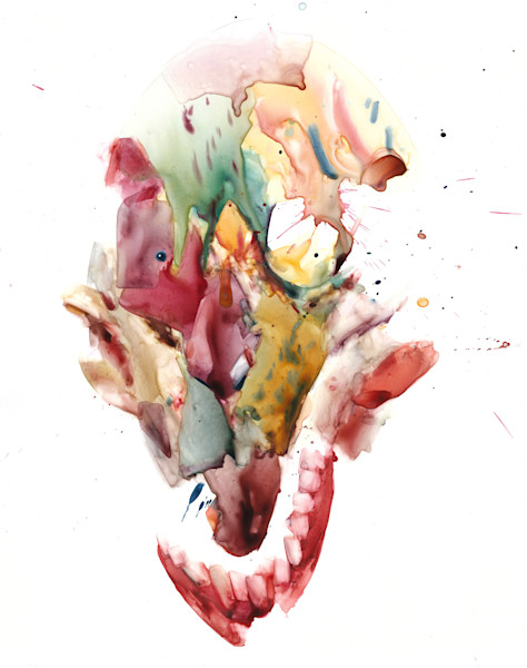 Watercolor painting of a Skull- hand painted on Yupo paper