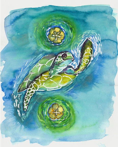 Fun tropical Turtle Hi Five watercolor for sale at boudreau-art.com