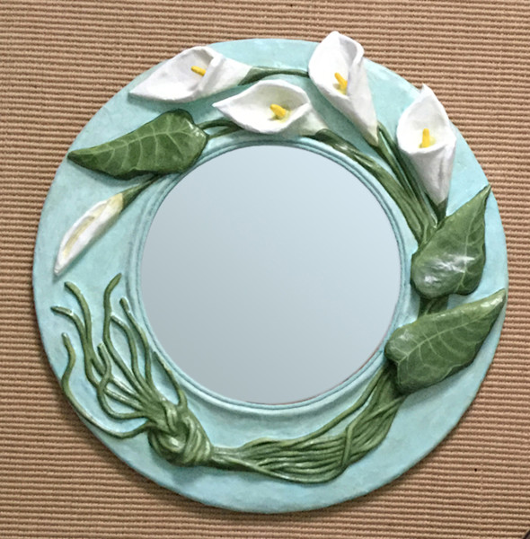 Buy a graceful calla lily-framed paper mache mirror as fine art.