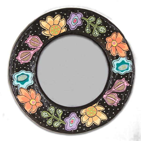Buy a floral paper mache mirror that's a statement piece.