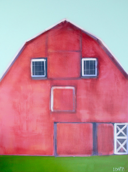lesli devito art & original painting print of red barn on green grass
