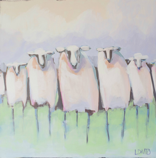 Lesli DeVito original Art Paintings | Animals | bridge club |sheep