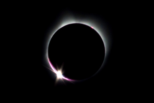 Photograph art of 2017 solar eclipse with chromosphere