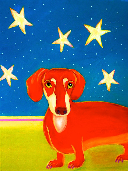Print of Claudia True's painting of 4th of July Dog